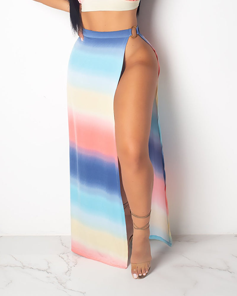 Tie Dye Print Backless Crop Top & Skirt Sets