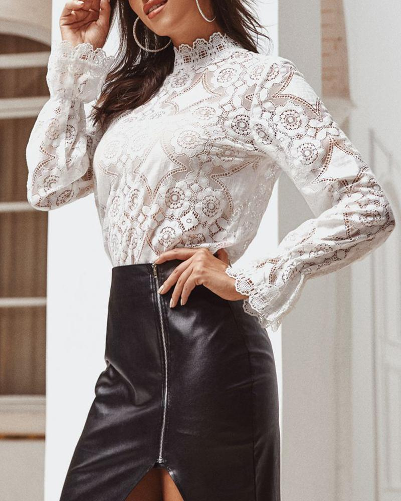 Mock Neck Bell Cuff Semi-Sheer Lace Blouse