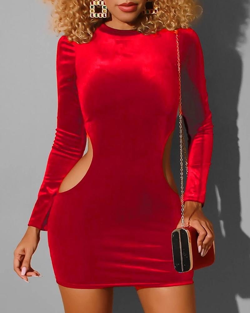 Velvet Cut Out Round Neck Bodycon Dress