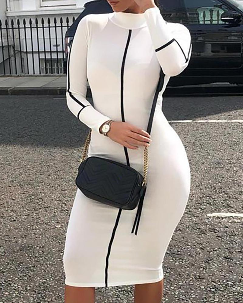Mock Neck Colorblock Striped Long Sleeve Bodycon Dress