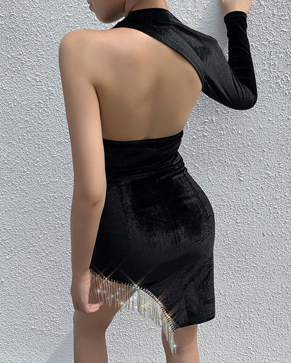 One Shoulder Backless Cut Out Tassel Irregular Hem Bodycon Dress