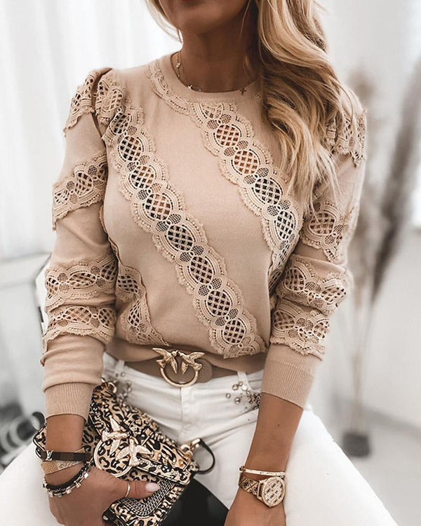 Lace Contrast Long Sleeve Sweatshirt