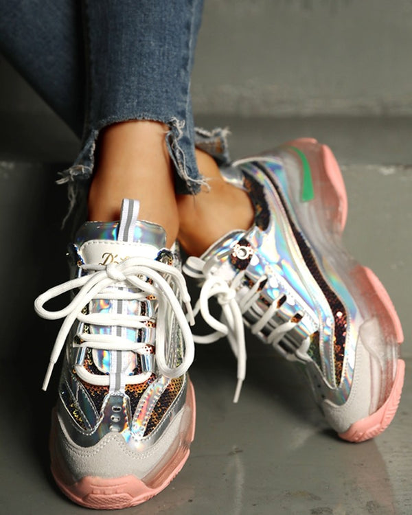 Glitter Colorblock Breathable Lace-up Sneakers