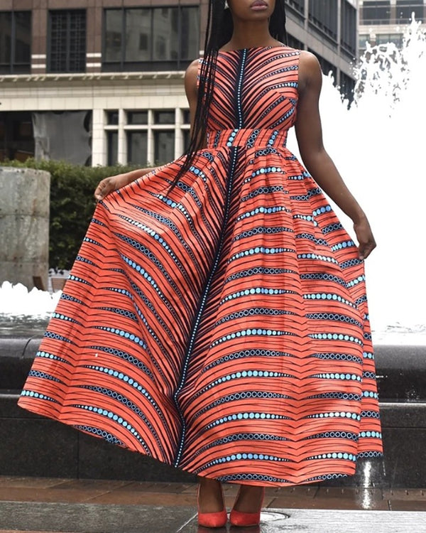 Print Backless Ruched Pleated Dress