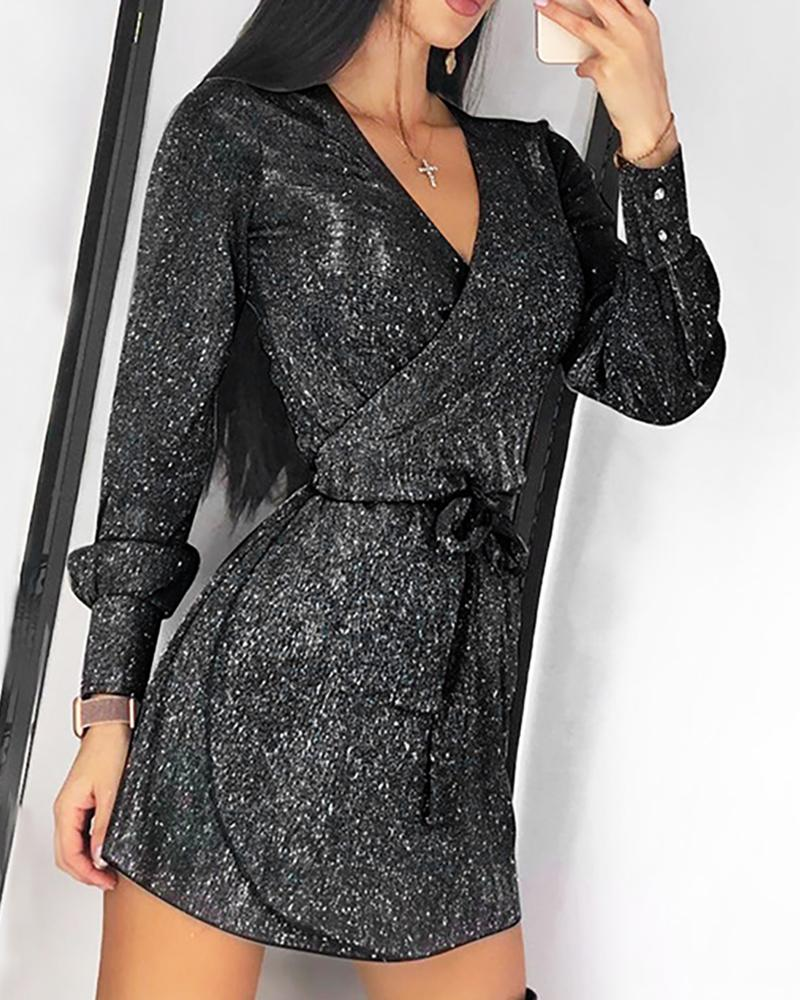 Glitter Long Sleeve Tied Waist Dress