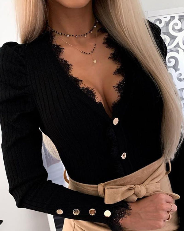 Solid Lace Trim Button-Up Blouse