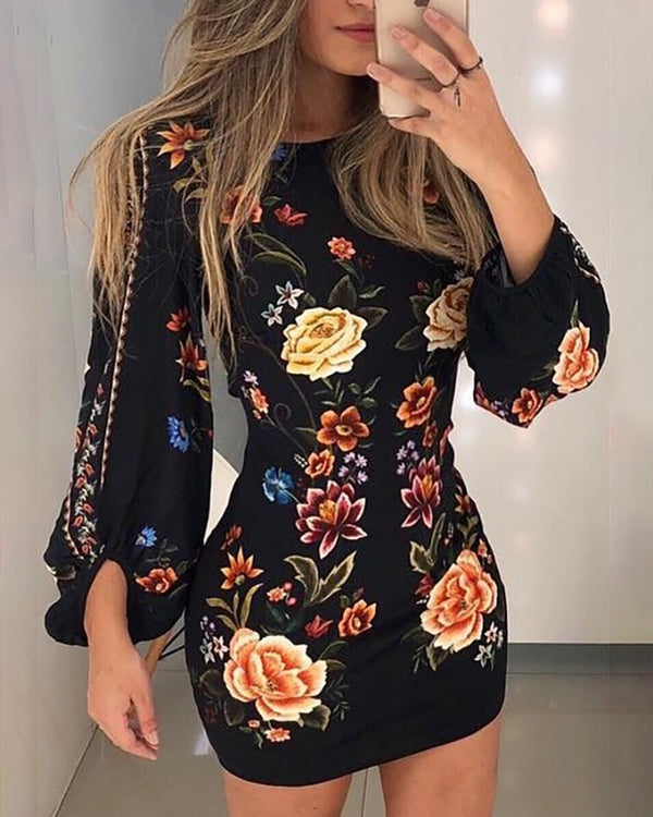 Cutout Back Lantern Sleeve Floral Bodycon Dress