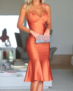 Spaghetti Strap Fishtail Hem Party Dress