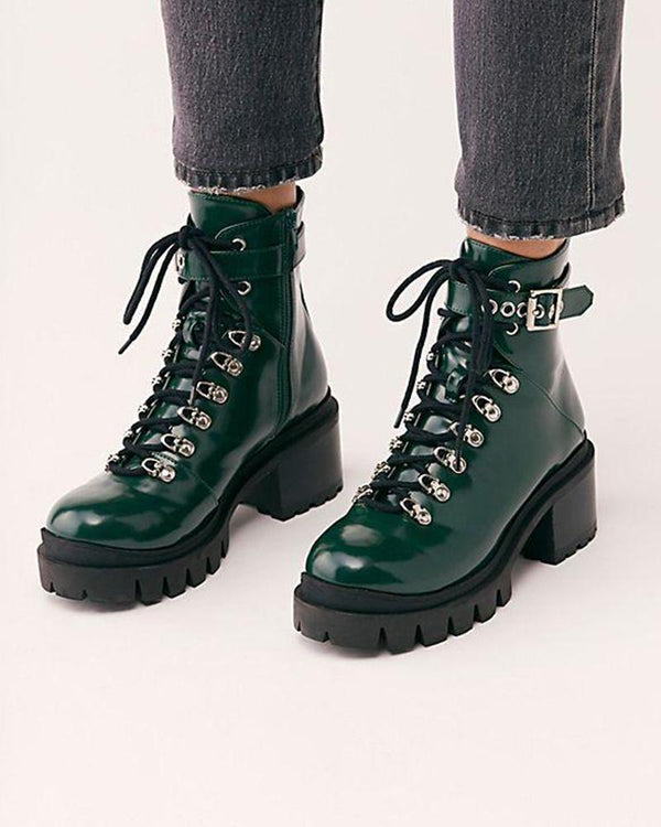 Blocked Heel Lace-Up Biker Boot
