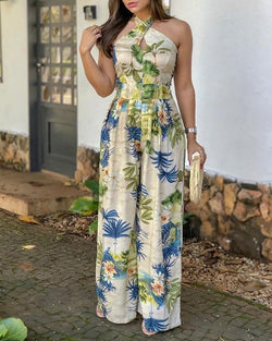 Crisscross Halter Tropical Print Jumpsuits