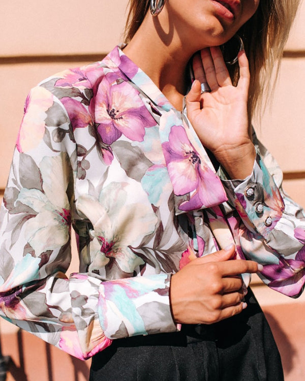 Tied Neck Floral Print Long Sleeve Shirt