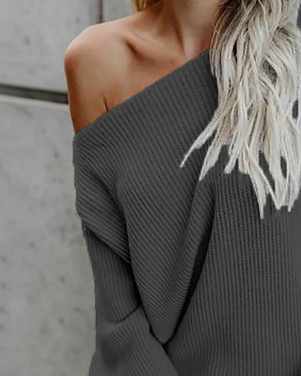 Solid Long Sleeve One Shoulder Sweater
