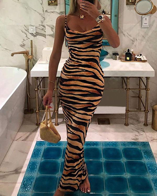 Tiger Striped Spaghetti Strap Backless Dress