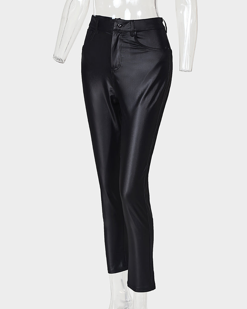 Solid Buttoned Casual Coated PU Pants