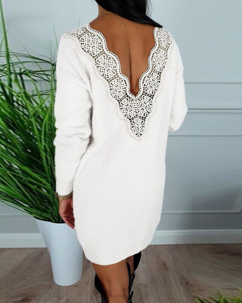 V-Neck Hollow Out Lace Insert Long Sleeve Bodycon Dress