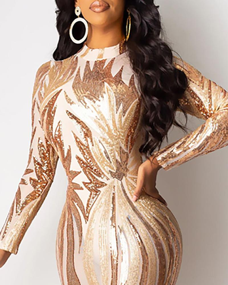 Glitter Mock Neck Long Sleeve Sequins Bodycon Dress