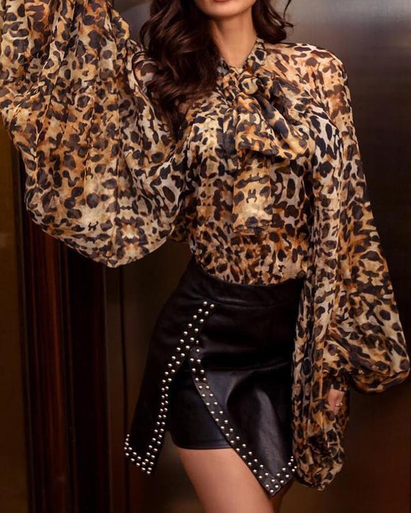Leopard Print Tied Neck Lantern Sleeve Blouse