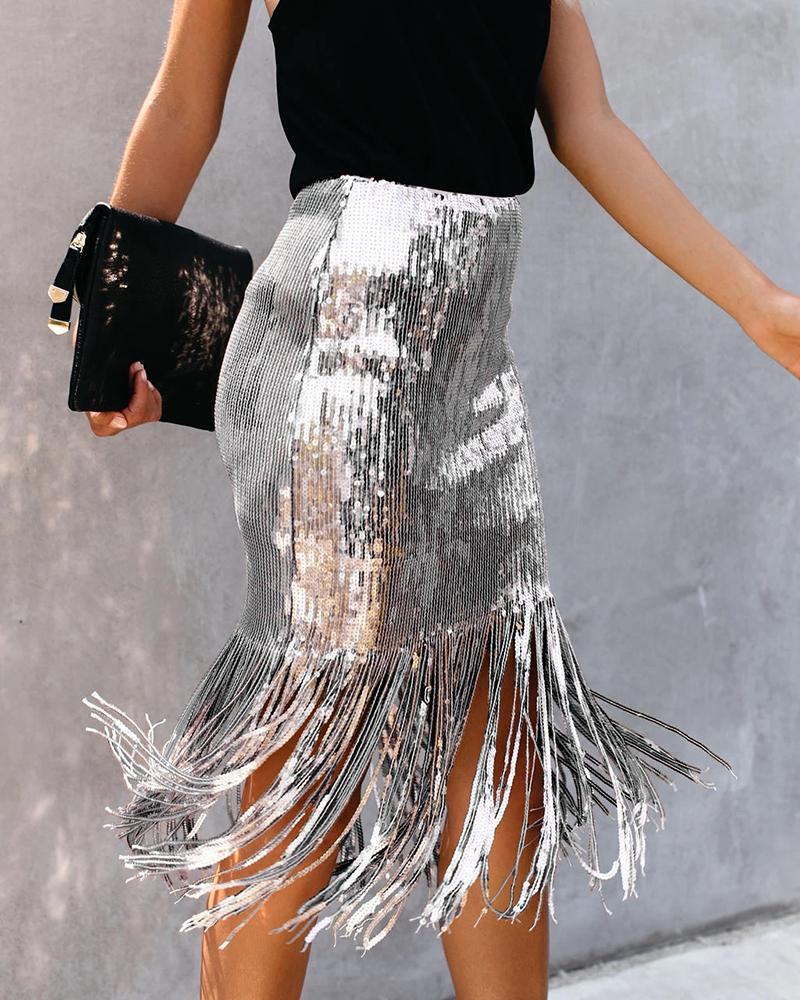 Glitter Tassel Design Sequins Skirts