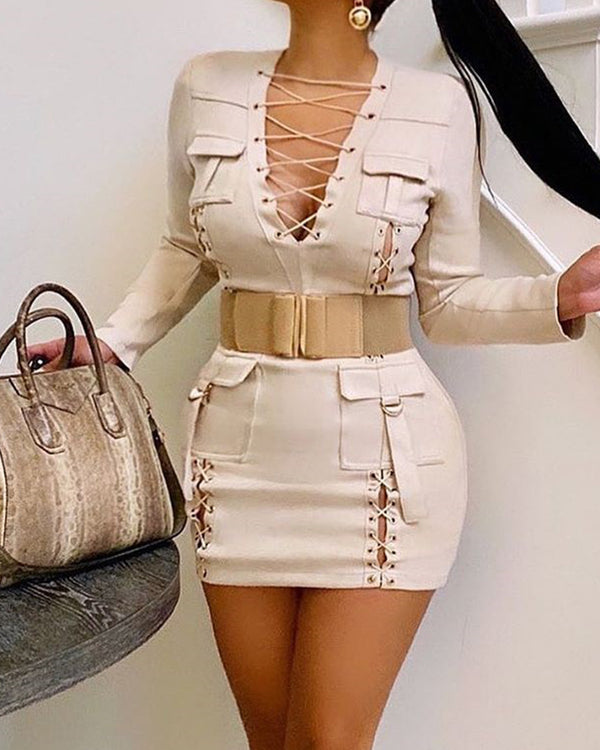 Cutout Lace-Up Mini Dress