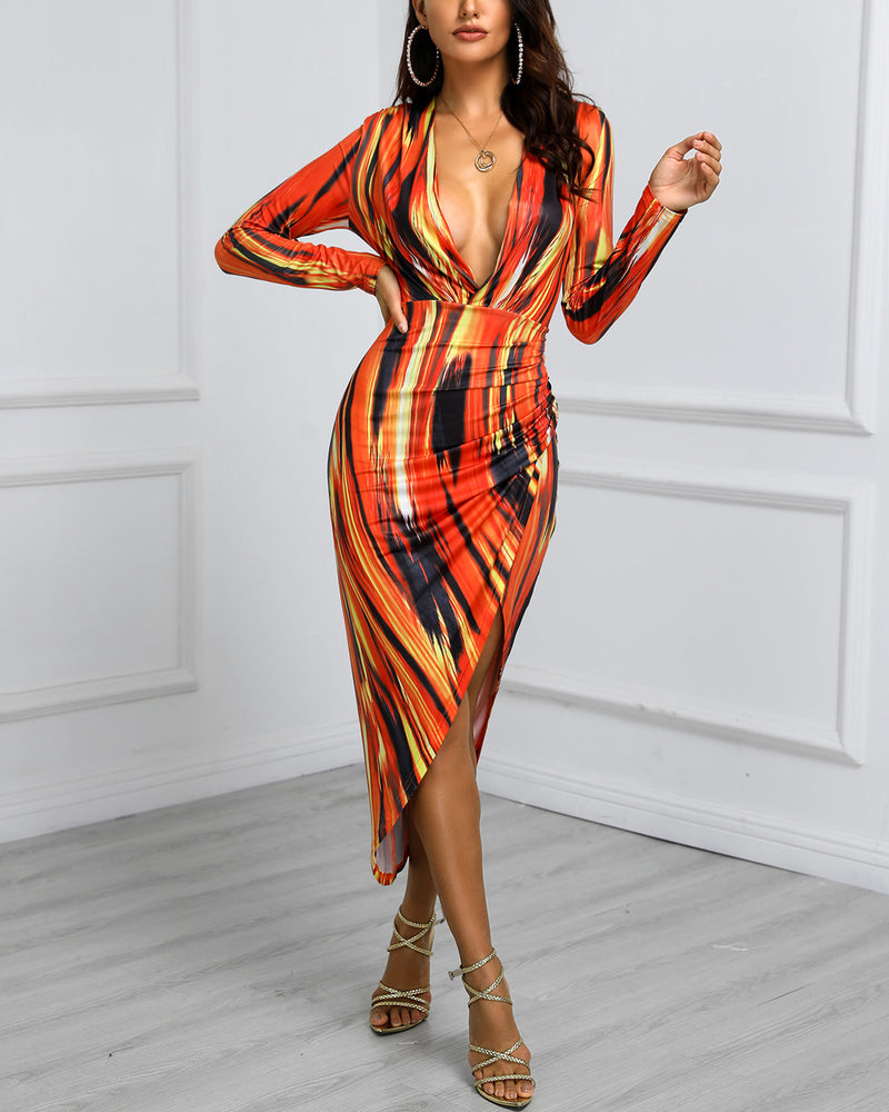 Tie Dye Print Slit Irregular Bodycon Dress