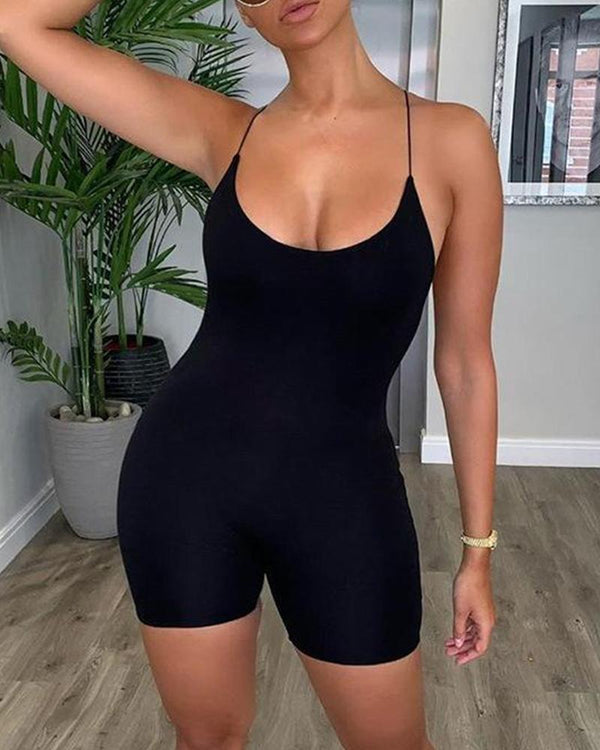 Spaghetti Strap Crisscross Backless Fitted Romper