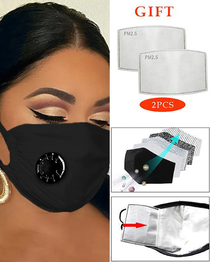 Solid Breathing Washable Valve Face Mask (2 filters as gift)