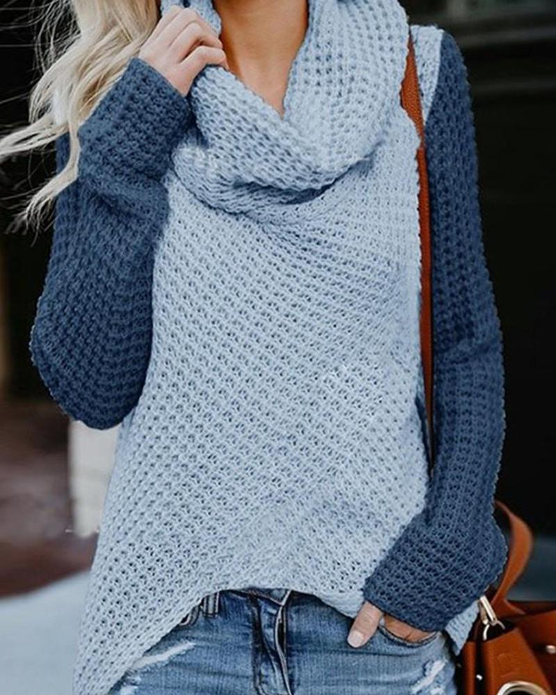 Contrast Sleeve Loose Knit Sweater