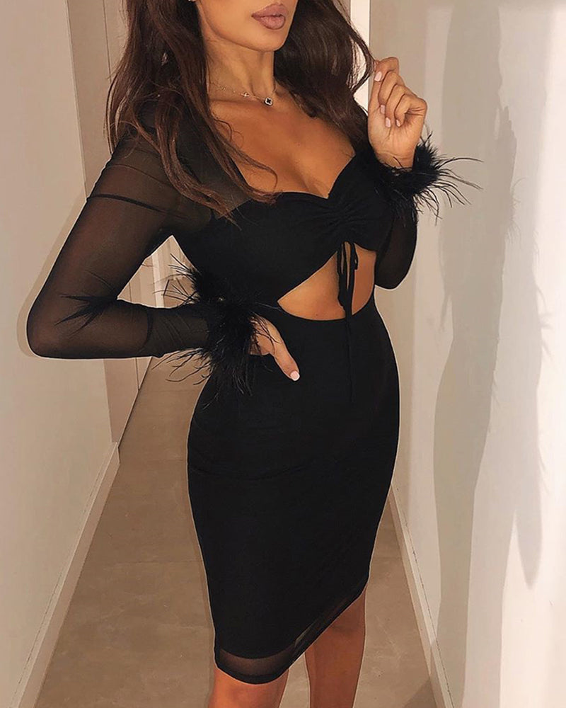Sheer Mesh Feather Insert Twisted Cut Out Bodycon Dress