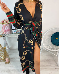 Long Sleeve Chain Baroque Print Dress