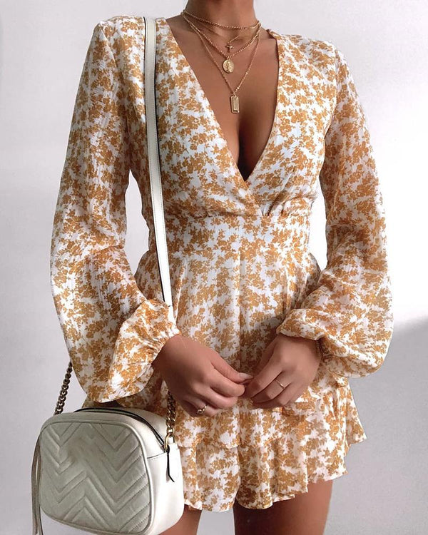 V-neck Floral Print Long Sleeve Dress