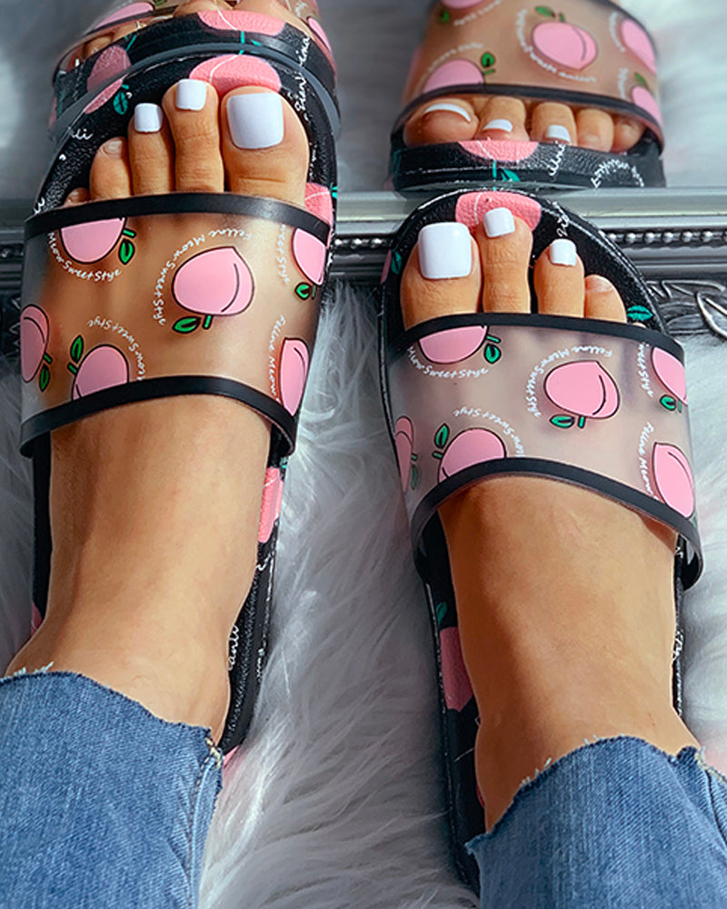 Transparent Peach Pattern Flat Sandals