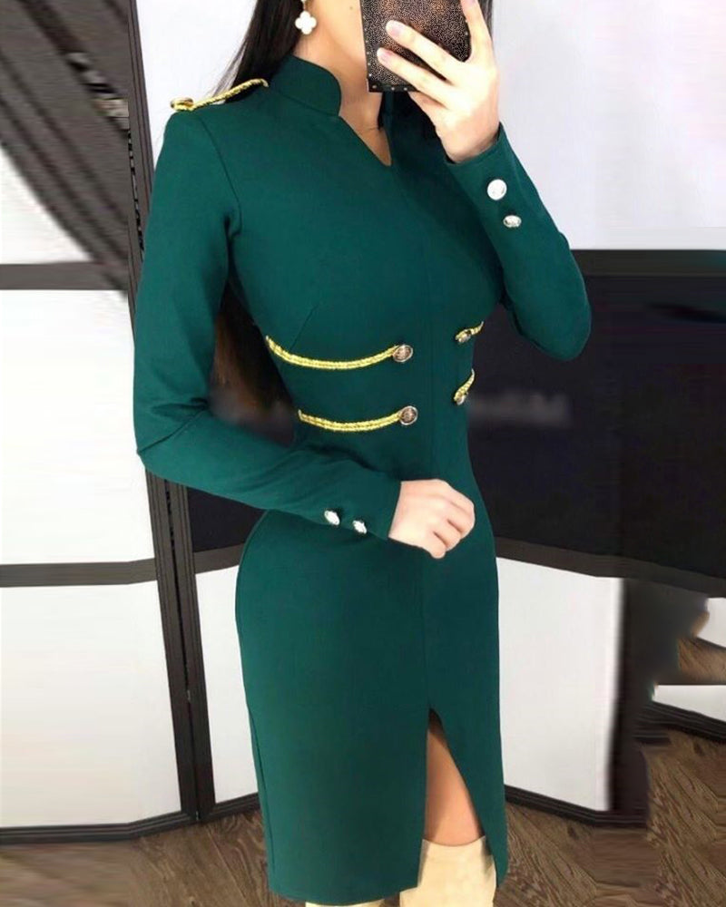 Stand Collar Popper Cuff Long Sleeve Slit Buttoned Bodycon Dress