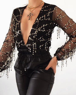 Deep V Sequined Mesh Sleeve Top