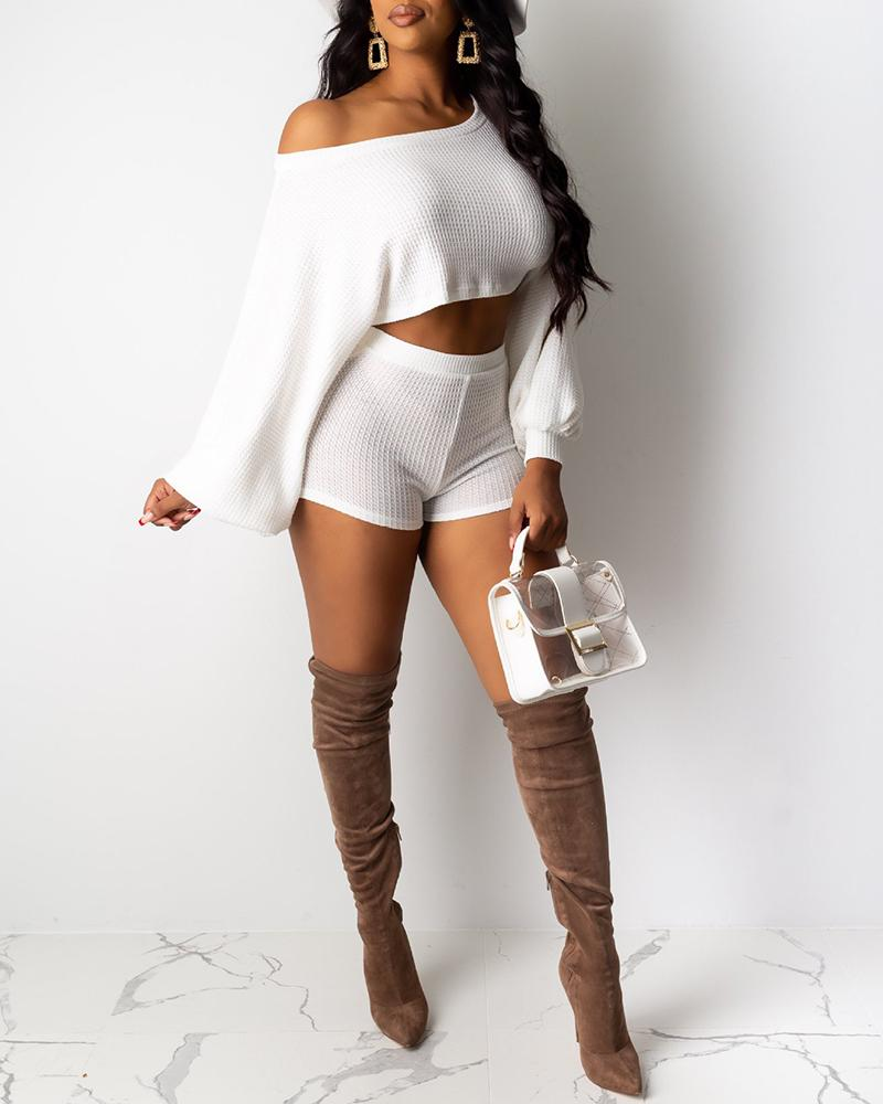 Solid Skew Neck Crop Top & Shorts Sets