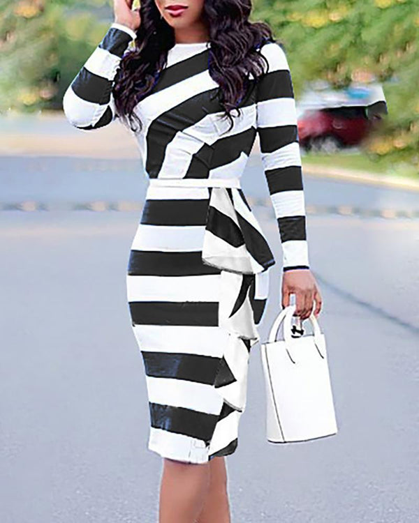 Colorblock Striped Ruffles Detail Bodycon Dress