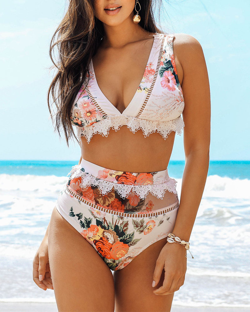 Floral Print Lace Trim Bikini Set