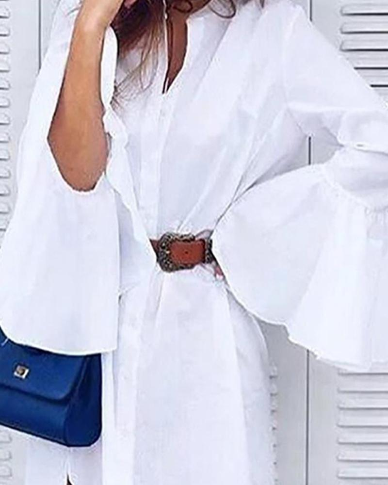 Bell Sleeve Loose Asymmetric Down Blouse