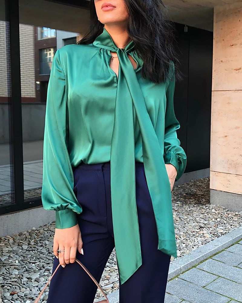 Solid Lantern Sleeve Tied Neck Blouse