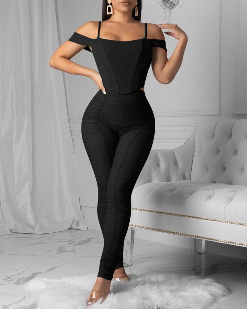 Solid Cold Shoulder Ruched Top & Pant Set