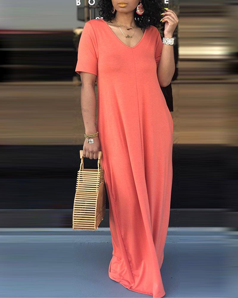 V-Neck Shift Maxi Dress