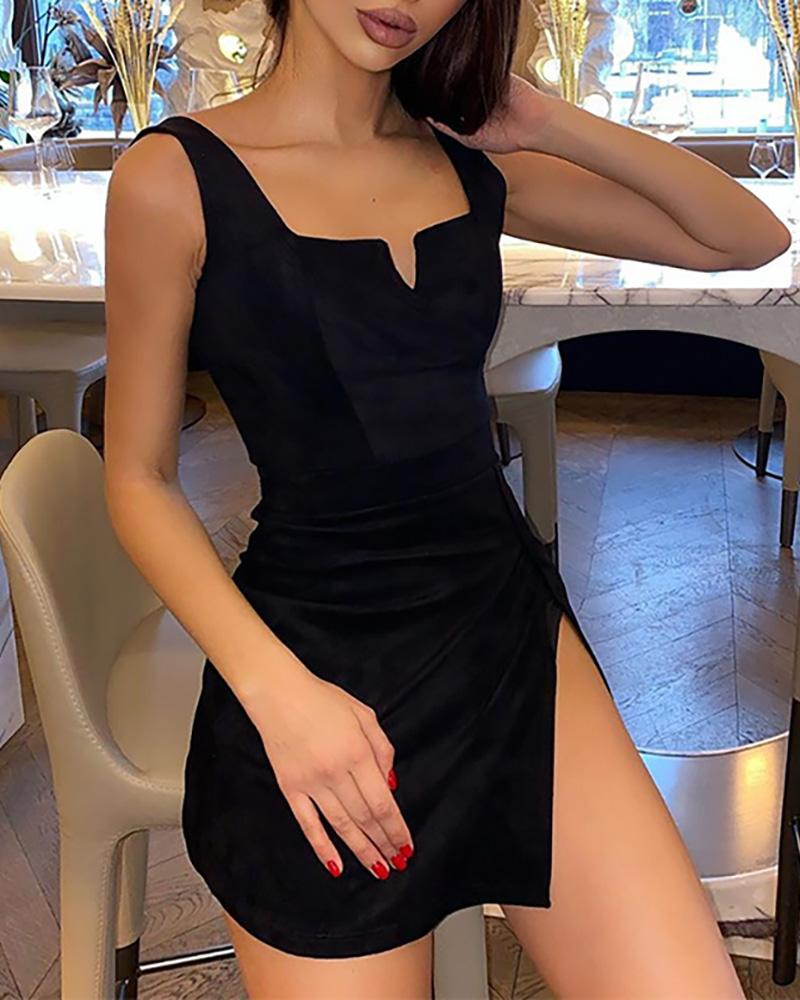 Solid V-Cut Slit Detail Mini Dress