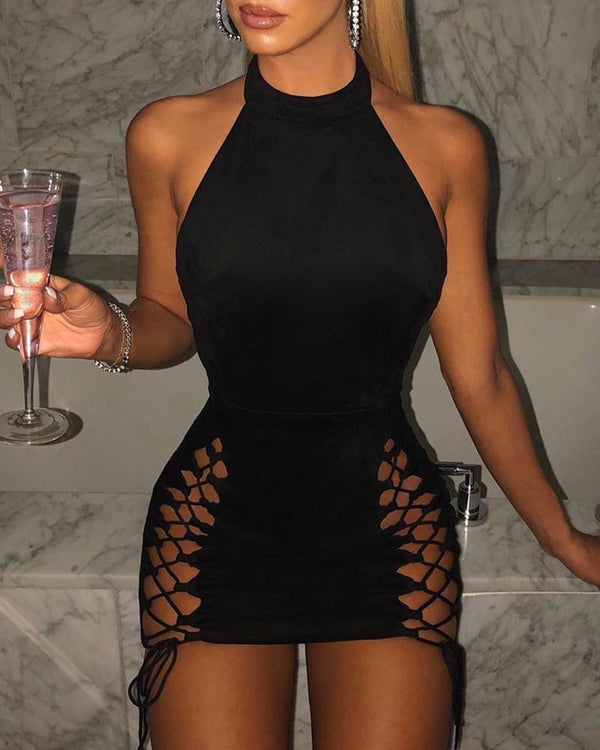 Lace-up Sleeveless Bodycon Dress