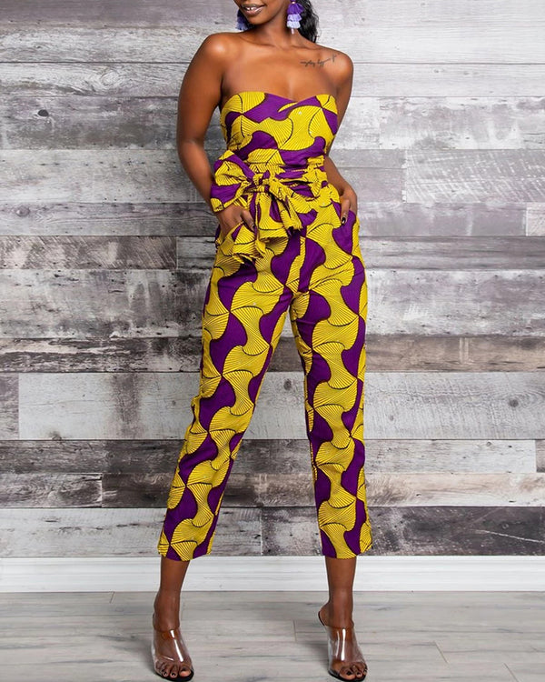 Dashiki Print Multi Wear-way Tight Waist Jumpsuit
