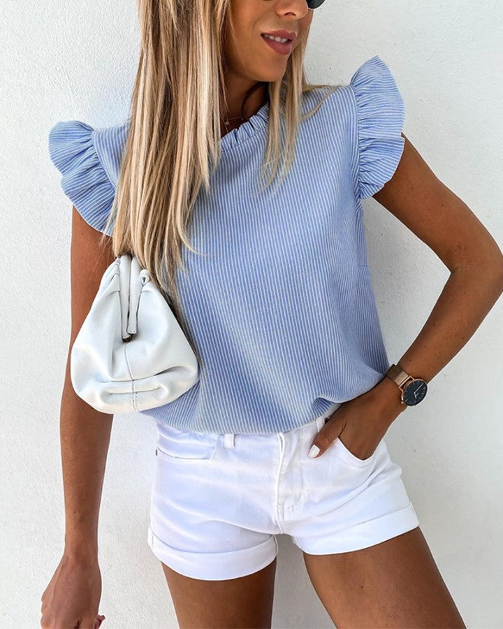 Striped Ruffle Sleeve Top