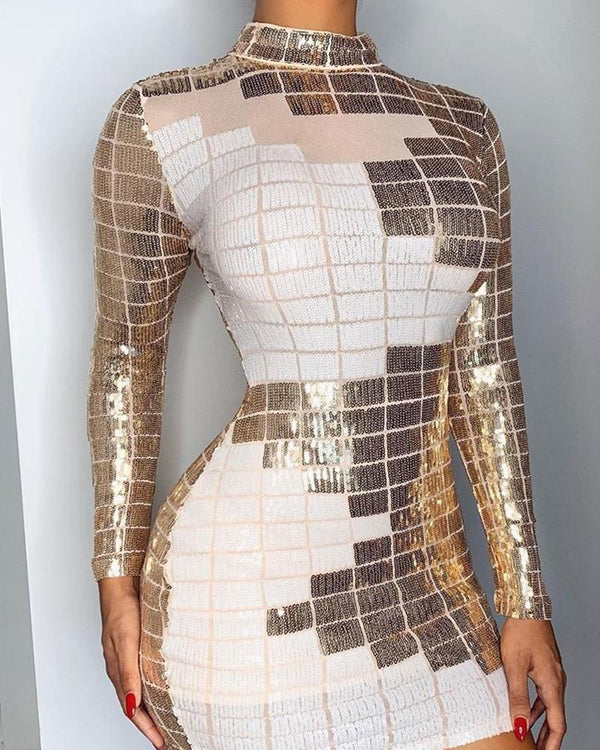 Contrast Sequins Bodycon Mini Dress