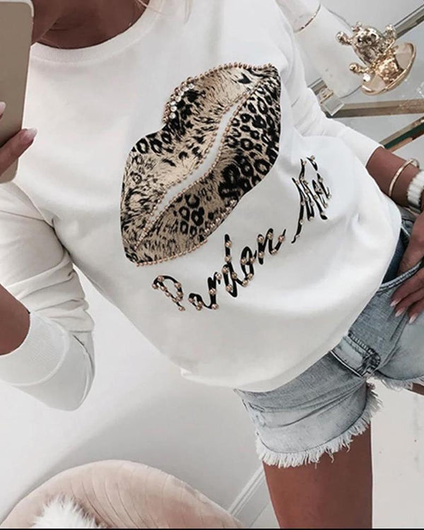 Mouth Leopard Print Long Sleeve Blouse