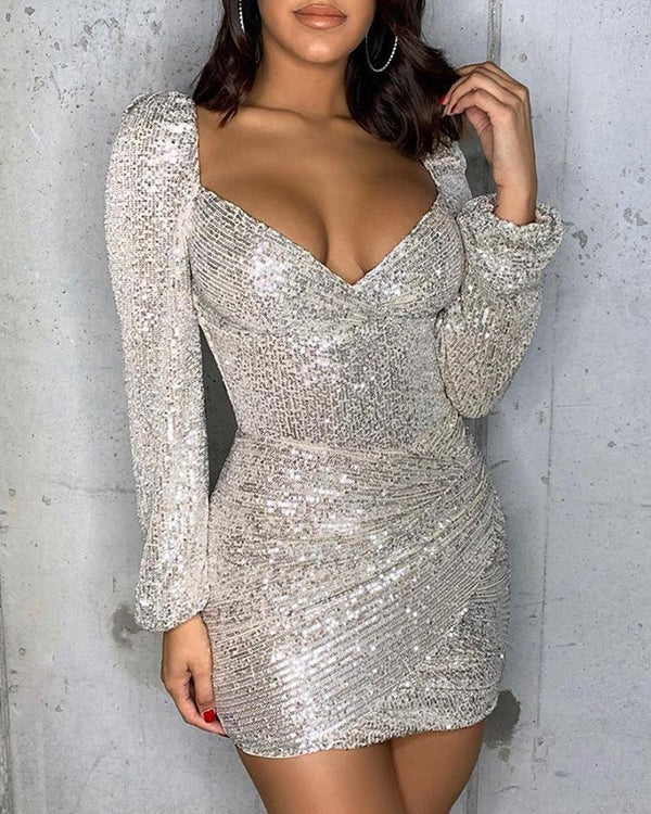 Glitter Ruched Sequins Bodycon Dress