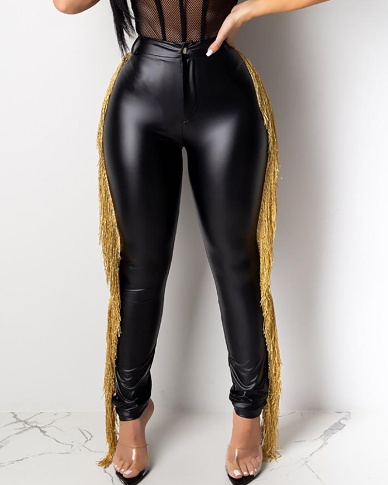 High Waist Tassel Design PU Pants 5
