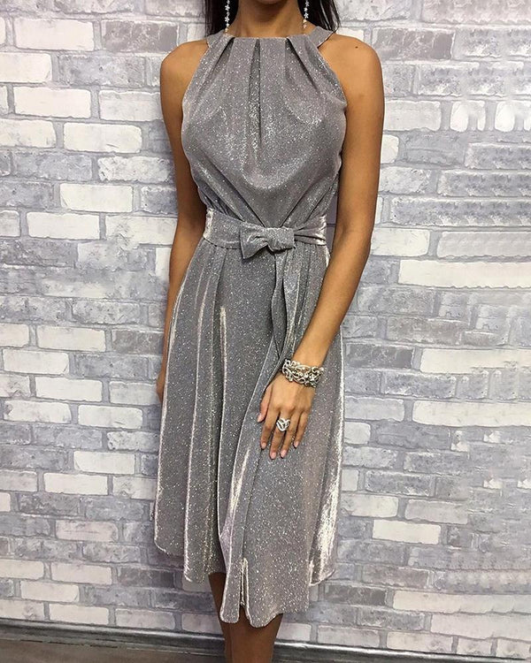 Glitter Sleeveless Ruched Detail Dress
