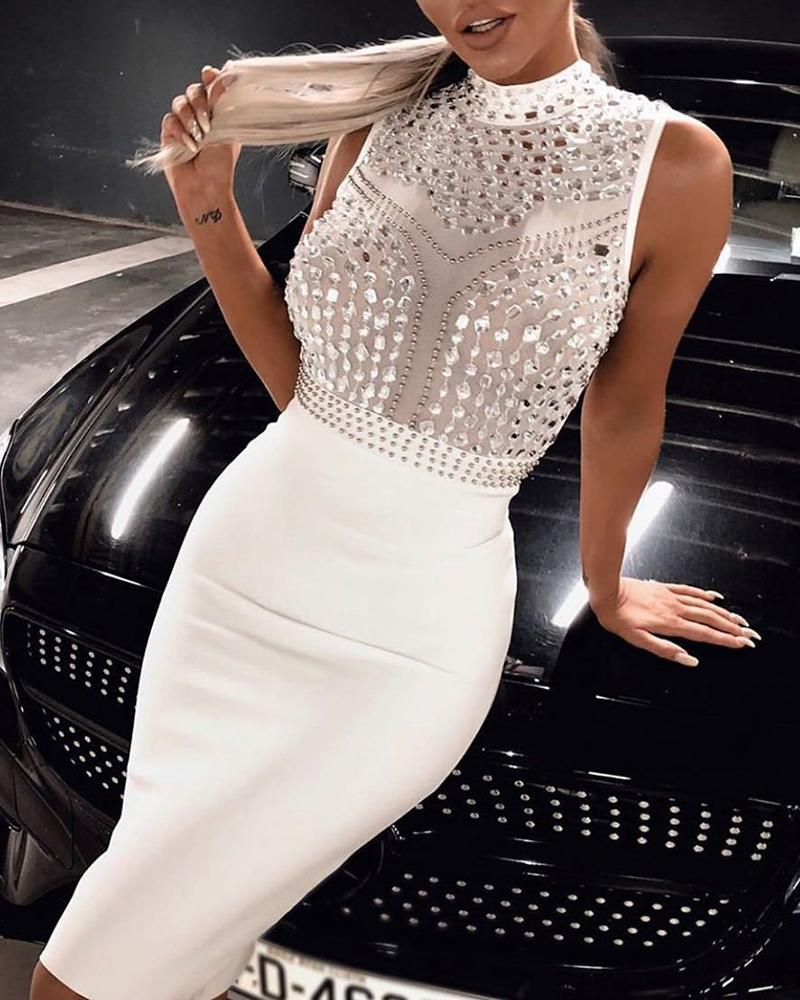 Diamante Trim Design Bodycon Dress 4